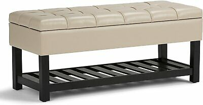 "Simpli Home Saxon 44"" Wide Storage Ottoman Bench Satin Cream Faux Leather"