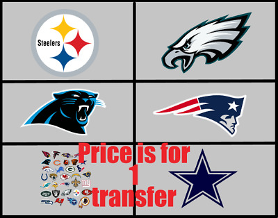1 NFL Football Team Of Your Choice Iron On Transfer For Light Or Dark Fabrics