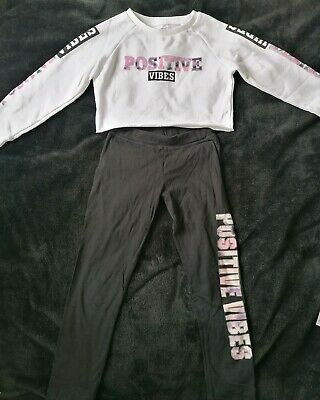 Girls Sport Set Crop Top And Leggins Size 7-9 Years