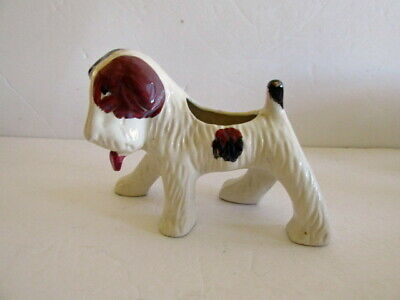 Airedale  Wire Haired Terrier Vintage Planter Japan Cream Brown & Black