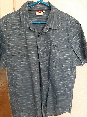 Mens Lee Cooper Full Button Short Sleeve Denim Mid Shirt Top Sizes from S to XXL