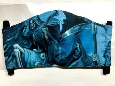 Goth Grim Reaper Cloth fabric face mask all sizes w/ Filter pocket & nose bridge