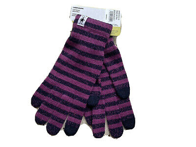 NWT Smartwool Purple striped Smartwool Striped Glove Liner Small Free shipping