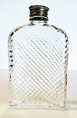 Vtg Universal PAT'D Feb 8 1927 Glass Pocket Hip Flask Prohibition Bottle Lid