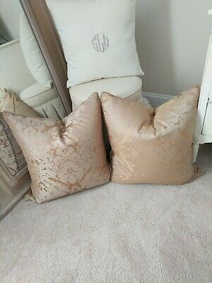 """26"""" Large Pair set Damask Decorative gold throw pillows rodeo home down feather"""