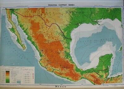 """Vintage Denoyer Geppert Wall Map MEXICO S 67 rp 1953 Visual Relief 63"""" x 54"""""""