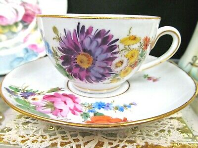 MEISSEN tea cup and saucer pink roses German painted teacup floral Germany