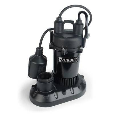 Sump Pump Submersible Aluminum 1/2 HP W/Tethered Float Switch By Everbilt/NEW