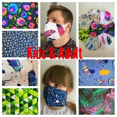 UK seller 100% Cotton Face Mask Adult & Kids Reusable Washable Two Layers