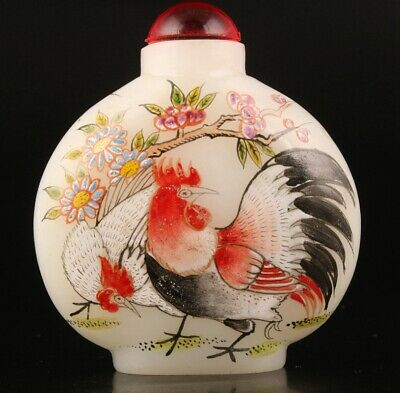 Precious China Coloured Glaze Snuff Bottle Statue Relief Rooster Mascot Gift