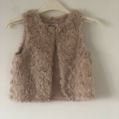 H&M Pink Faux Fur Gilet for Girls, Size 6-7 Years