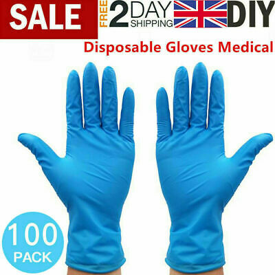 100 & 200 Disposable Nitrile Gloves 50/100 Pairs Powder & Latex Free Single Use