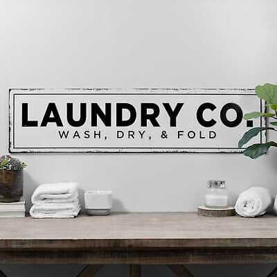 Large Laundry Co Metal Wall Plaque Industrial Style Home Decor 36 46 Picclick Uk