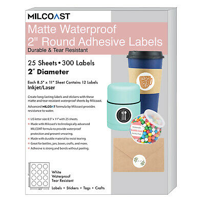 """Milcoast Matte Waterproof White 2"""" Round Circle Labels - 300 Labels (25 Sheets)"""