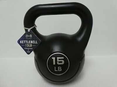 15 Lbs Vinyl Coated Kettlebell Weight Strength Training Fitness 15-Pound