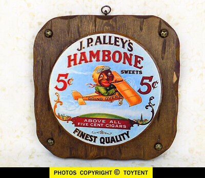 Hambone Sweets 5-cent cigars Black Americana advertising sign ace pilot airplane