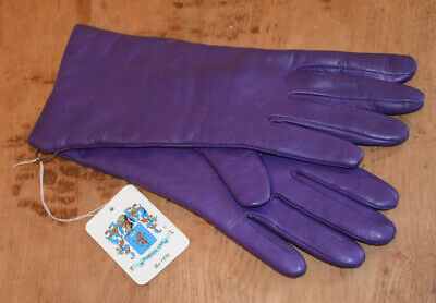 NWT Portolano Royal Purple Leather Gloves New 6.5 Cashmere Lined Italy Driving