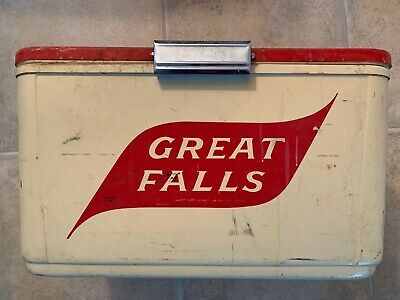 Untouched (needs cleaning), rare GREAT FALLS BEER cooler box CRONCO CRONSTROMS