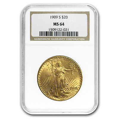 1909-S $20 Saint-Gaudens Gold Double Eagle MS-64 NGC