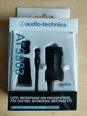 Audio Technica AT9903 - Lapel Microphone For Presentation, Battery/Plug-In Power