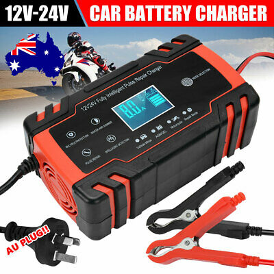 Automatic Car Battery Charger 12V/24V 10A Boat Caravan Motorcycle 20Amp 100AH AU