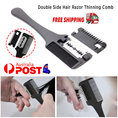 Double Side Hair Razor Thinning Comb Layer Shaaper Cutting Comb Razor Blades AU