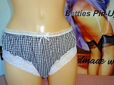Handmade knickers panties black white gingham check frilly sissy lacy cute ii