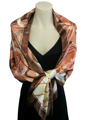 POINT ACCESSORIES scarf wrap - long rectangle, satin sheen, BROWNS, PEACH, NEW