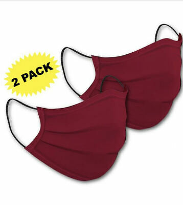 Washable Double Layer Cotton Adult Face Mask Reusable Made in USA 2 Pack Red