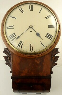 Antique flame mahogany drop dial fusee wall clock Circa 1860. 12inch convex dial
