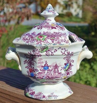 Antique Purple Transferware Ironstone Sauce Tureen Wedgwood Tyrol Staffordshire