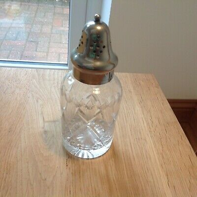 Vintage Siver Plated  Cut Glass Sugar Shaker,