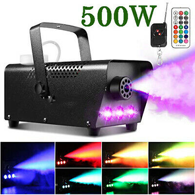500W Wireless Fog Smoke Machine RGB Color LED Party Stage Light + Remote Control