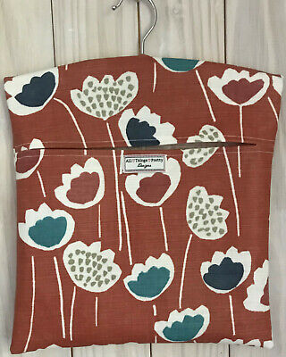 Peg Bag Handmade In Scnadinavian Design Retro Flowers Matt Oilcloth - Deep Coral