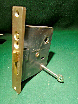 """1910 RUSSWIN #0122 PUSH BUTTON ENTRY MORTISE LOCK w/KEY 6 5/8"""" FACE (13688)"""