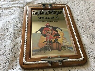 "Captain Morgan Spiced Rum Mancave Bar Mirror 15 1/2"" X 21 1/2"" Server Tray"
