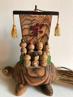 Vintage Japanese Kokeshi Doll Turtle Family Folk Art Japan Wood Display Rare