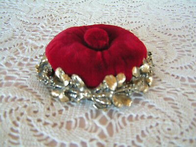 Vintage GRESCO Sewing Pin Cushion Red Velvet With Metal Hibiscus Base