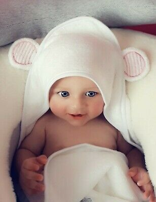 NEW Extra Large Bamboo Natural Fibre Hooded Baby Towel, Super Soft - Pink Ear