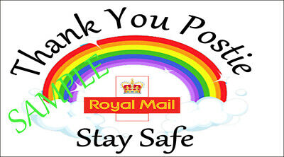 Postie Hearts Rainbow Thank you Key workers Hearts Stickers Postman thank you