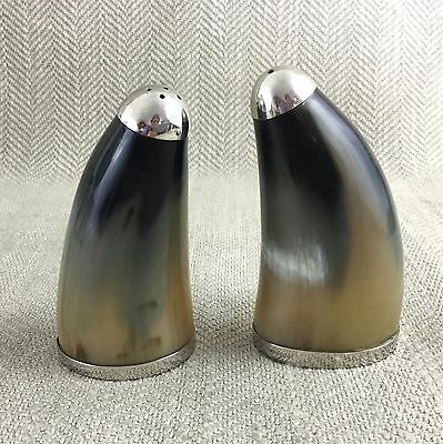 Vintage Salt and Pepper Shakers Pots Bovine Horn French Silver Plate