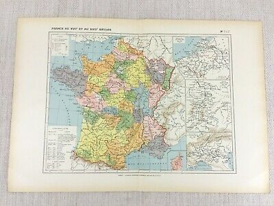 1888 French Map of 17th and 18th Century France 1700s 1800s Historical Chart