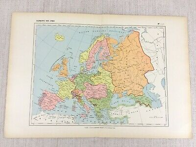 1888 French Map of 18th Century Europe Historical European Empires 1700s 1789