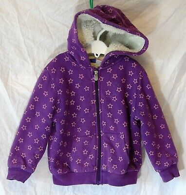 Girls Lupilu Purple Stars Furry Fleece Lined Hooded Jacket Coat Age 3-4 Years