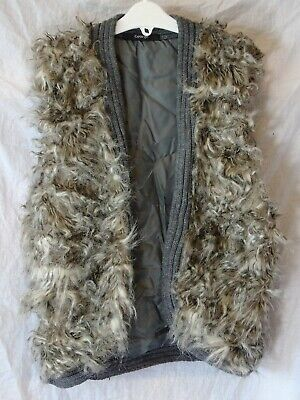 Girls George Grey Marl Faux Fur Gilet Sleeveless Open Jacket Age 14-15 Years