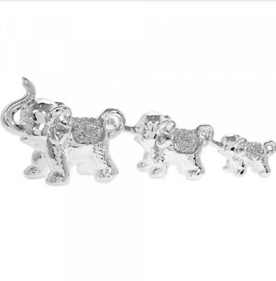 Mille Crystal Set Of 3 Elephants Ornaments Silver Sparkle Gift