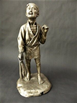 Antique Chinese Sculpture - Pewter Farmer Figurine - Chinese Antiques