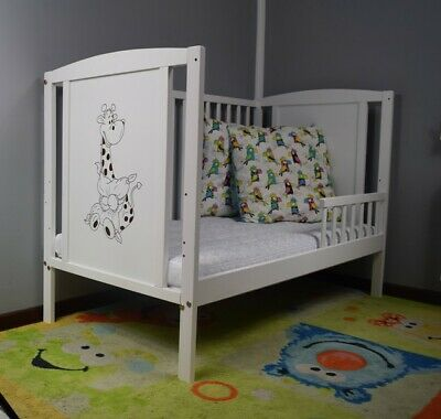 NEW Wooden Baby Cot Bed, with GUARD RAIL!!! Mattress Option. WHITE.