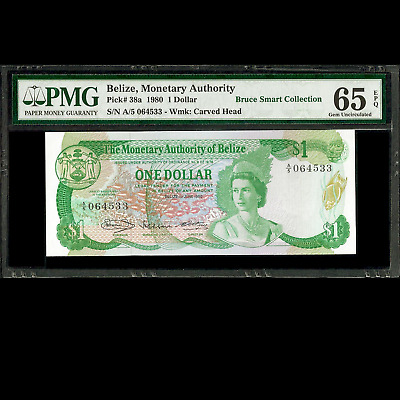Belize Monetary Authority 1 One Dollar 1980 PMG 65 GEM UNCIRCULATED EPQ P-38a