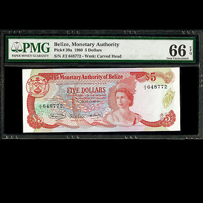 Belize Monetary Authority 5 Dollars 1980 PMG 66 GEM UNCIRCULATED EPQ P-39a